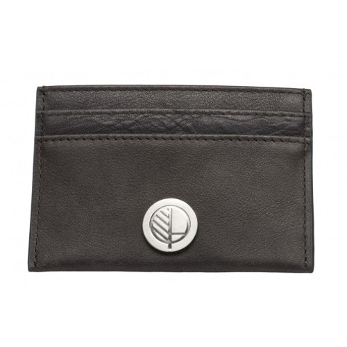"Full Grain Waxed Cowhide Charcoal Black British Leather Slim Card Holder – the ""Poised"""