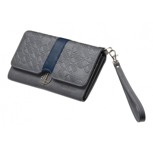 "Fashion and Practicality in One! - Ever so Subtle Glitter Silver Grey British Leather Womens Wallet, Purse and Clutch Bag ""All in one"" Case"