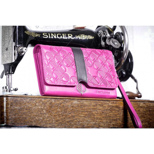 """The """"Ready"""" Clutch Bag -Purse - Women's Wallet - Hand -Crafted in Soft Fuchsia Pink English Leather - Black Accent. Fashion and Practicality in One!"""