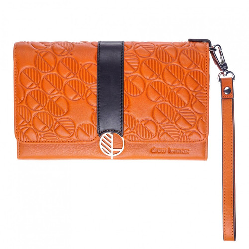 "The ""Ready"" Smooth Monarch Orange Premium British Leather - All-in-One Purse, Wallet and Clutch Bag - Black Accent. Fashion and Practicality in One!"