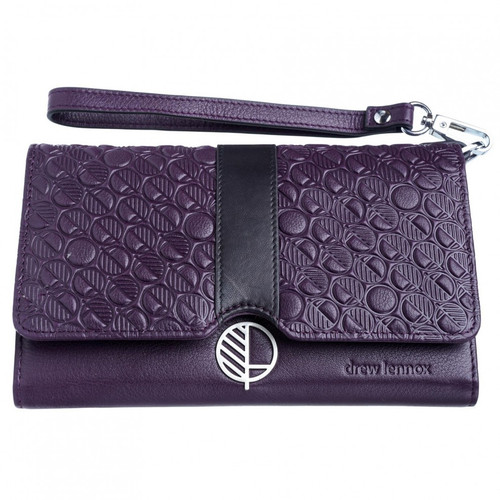 "Majestic Purple - British Leather- Clutch Bag - Purse- Women's Wallet - Black Accent. That's the ""Ready"" - Fashion and Practicality in One!"