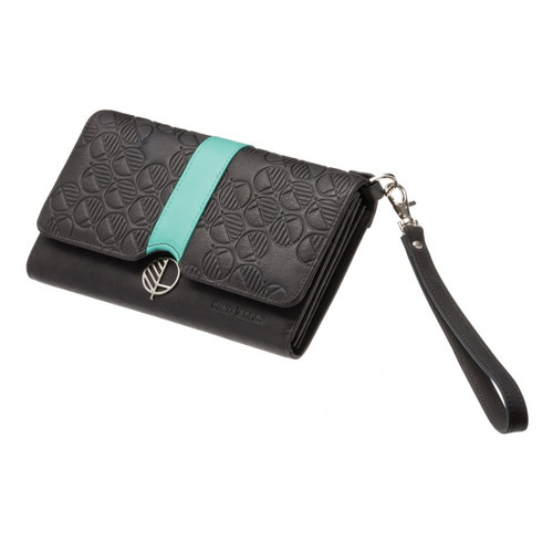 "The ""Ready"" Clutch Bag, Purse and Wallet for Women crafted in Charcoal Black British leather with a Turquoise Accent. Fashion and Practicality in One!"