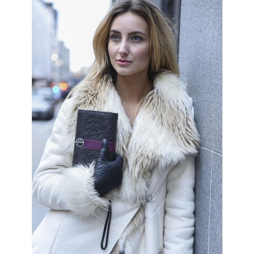 """Fashion and Practicality in One! The """"Ready"""" Womens Clutch Bag and Travel Wallet crafted in Charcoal Black leather with a Purple Accent."""