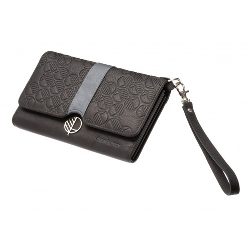 """The """"Ready"""" Womens Clutch Bag and Travel Wallet crafted in Charcoal Black leather with Silver Grey Accent. Fashion and Practicality in One!"""