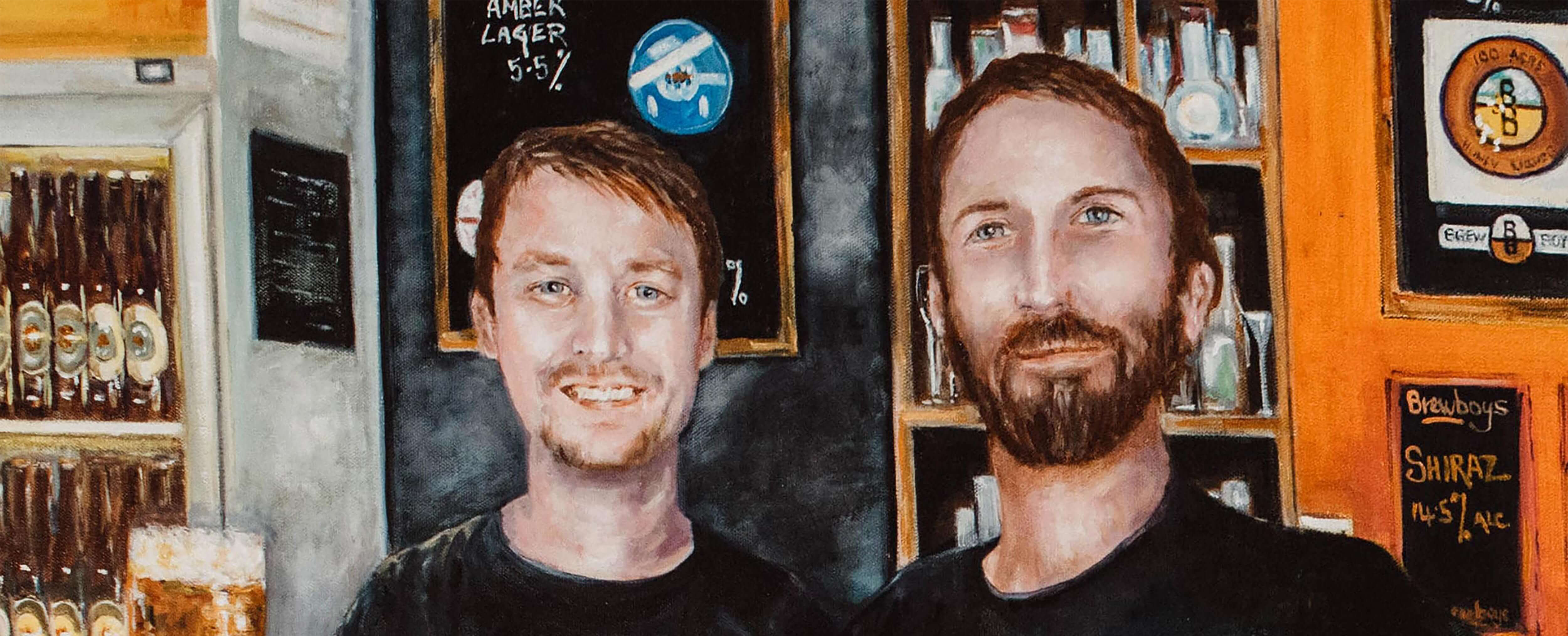 Painting of the Brewboys, Owen and Dan