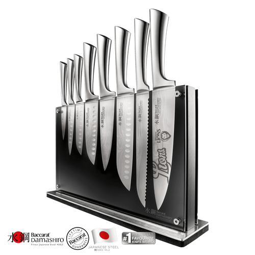 Baccarat Damashiro Nami Knife Block 9 Piece