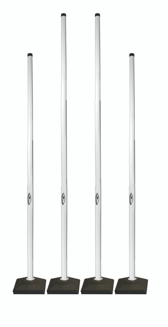 Retractable posts with easy to use double quick release button. Can be used on grass & hard surfaces   - 1.2kg rubber base - Metal pegs for added stability for use on grass. - Carry bag included. - 2 X Goal Post Height - 2.10 metres. - 2 X Point Post Height - 1.80 metres