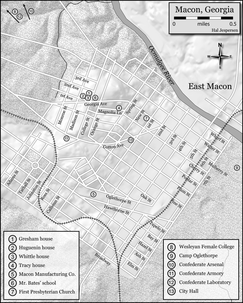 Map of Macon and important key points in LeRoy's life.