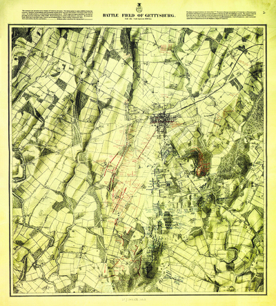Warren Map Full Size Color Morning July 3, 1863