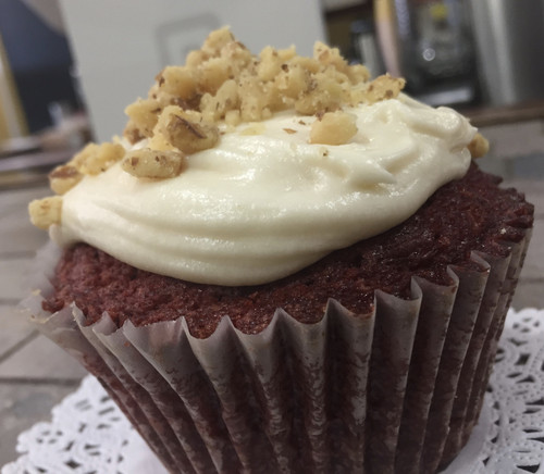 4 Red Velvet topped with walnuts.  So moist it could be called cake.  4 servings.