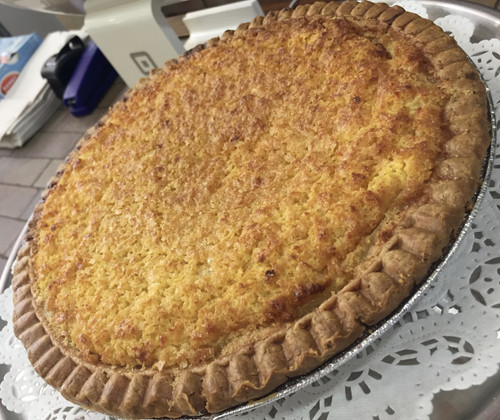 A true Southern chess pie.  Made with lots of lemon zest, corn meal and European Style butter.