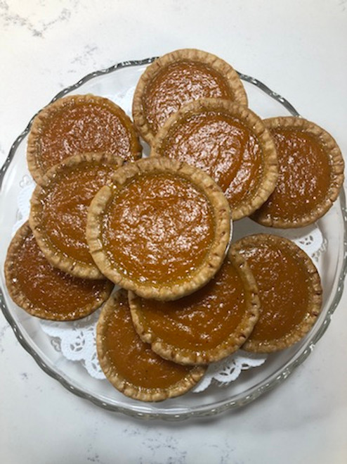 "12 Mini Sweet Potato Pies (3"") plus 1 to share!  The perfect two-bite size with the big taste."