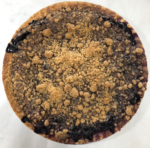 "Maine wild blueberries tossed in a mixture of flour, sugar, butter and fresh lemon zest, bubbling underneath a buttery crumb topping. Each pie is 10"" and serves 8-10 slices.  ONLY AVAILABLE FOR LOCAL DELIVERY.  CAN NOT BE SHIPPED VIA UPS."