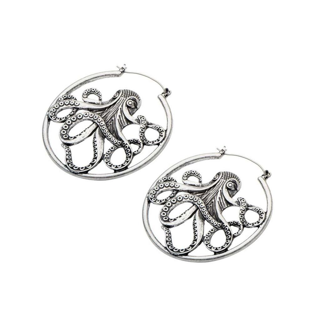 Octopus earrings - plug hoops