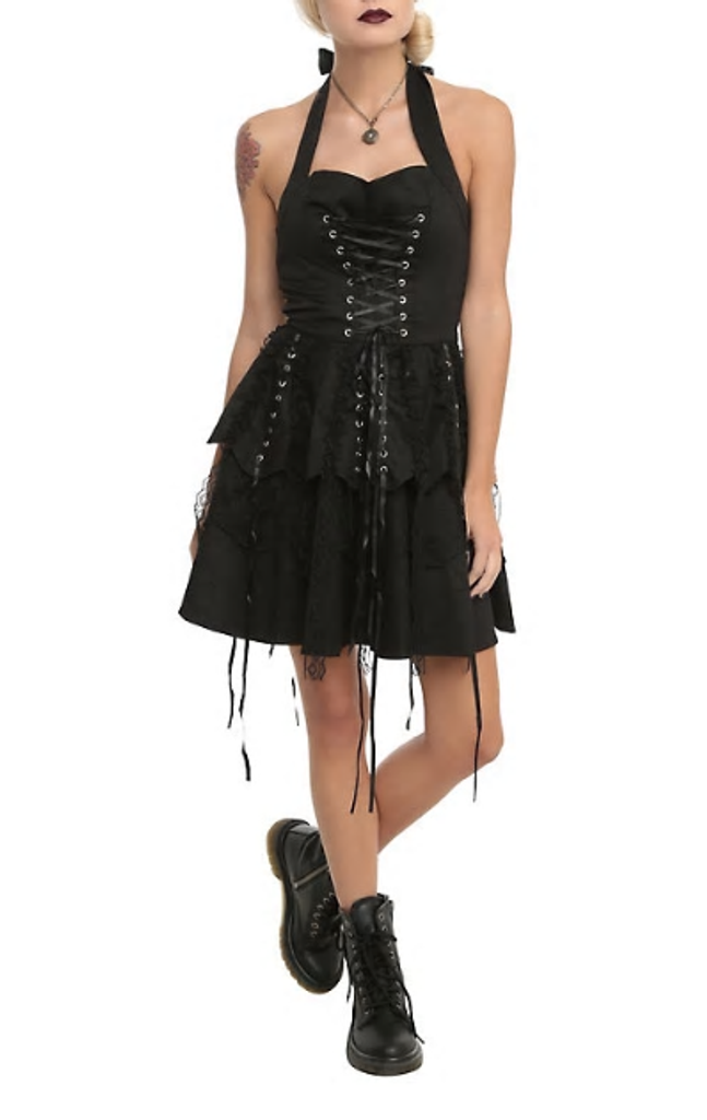 Black Lace Gothic Steampunk Party Dress