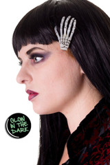 Glow-in-the-dark skeleton hand hair clip