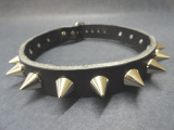 "Black leather choker 17"" - 15  0.5"" cone studs"
