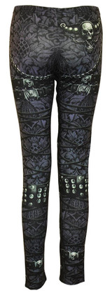 Leggings - confortable fit with chains and buckle print - black