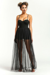 Black toule maxi dress