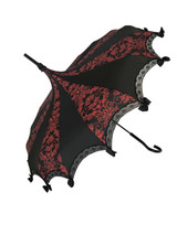 This beautiful Umbrella features a beautiful black and red bat damask pattern. It has lace and bow details with a hook-style handle. Whether it is Sunny or Wet, this is a must-have accessory for all your weather needs (yes, that's right- this is a real umbrella and can get wet. It's not just a fashion piece, it's functional)! This Umbrella will complement your outfit or costume.  Pagoda Style Umbrella Black and red damask pattern panels Hook-styled handle Lace ans small black bows detail Sturdy Construction Use as a parasol or rainy weather umbrella  http://petuniarocks.com