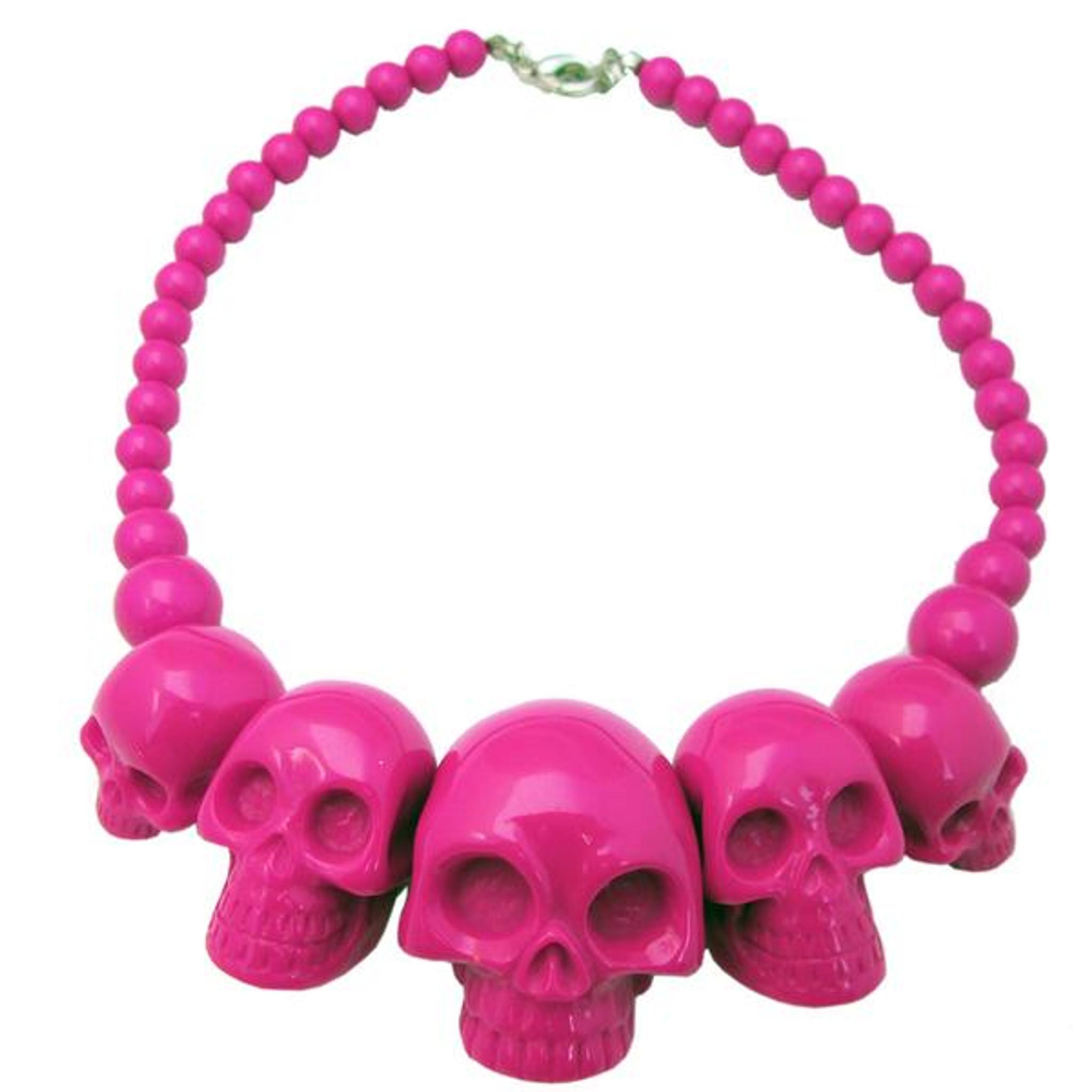 Pink skull necklace