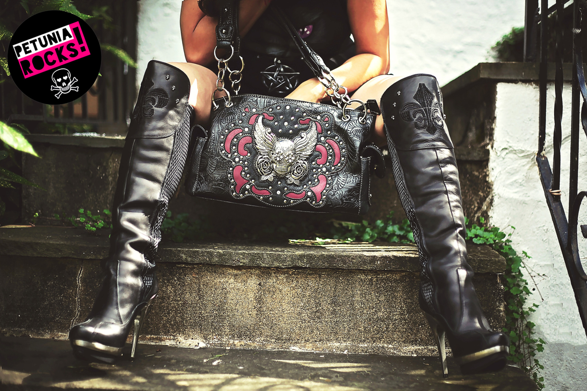 Winged sugar skull and roses bag