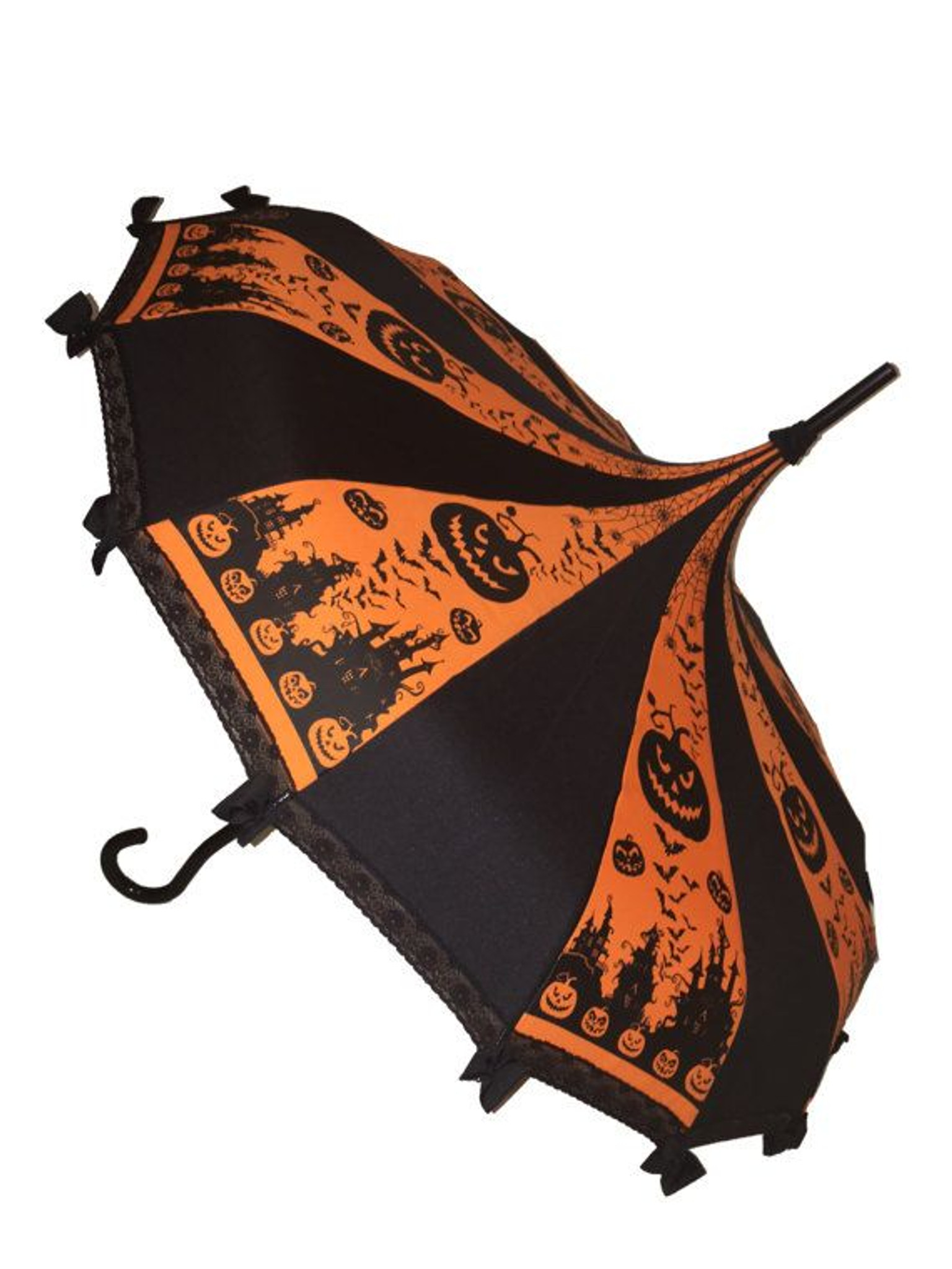 This is a beautiful Halloween inspired Pagoda style Umbrella. It has lace and bow details with a hook-style handle. Whether it is Sunny or Wet, this is a must-have accessory for all your weather needs (yes, that's right- this is a real umbrella and can get wet. It's not just a fashion piece, it's functional)! This Umbrella will complement your outfit or costume.  Pagoda Style Umbrella Halloween inspired patterned panels Hook-styled handle Lace ans small black bows detail Sturdy Construction Use as a parasol or rainy weather umbrella  http://petuniarocks.com