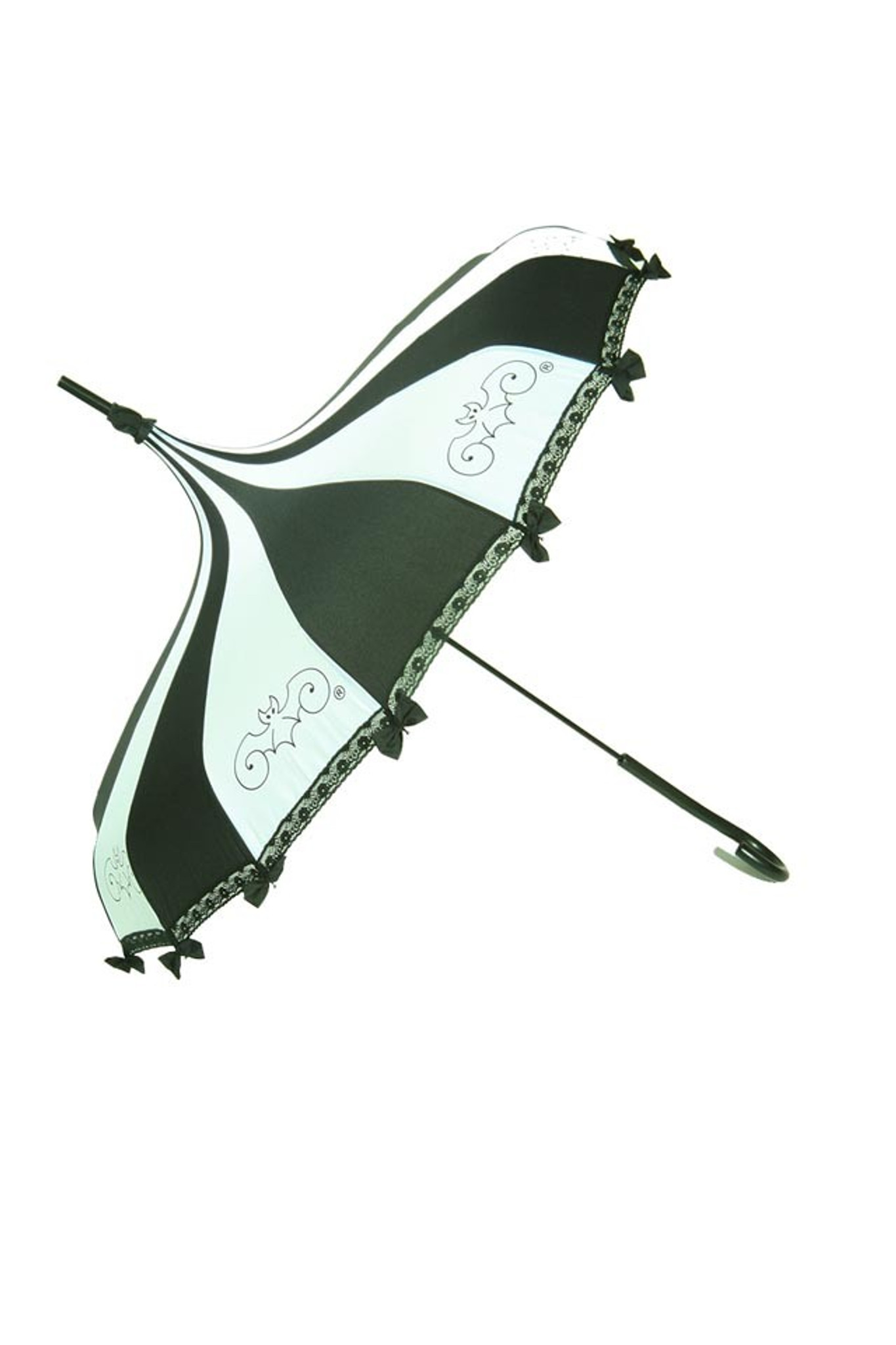 This beautiful Umbrella features a beautiful black and white panelled umbrella with bat logo. It has lace and bow details with a hook-style handle. Whether it is Sunny or Wet, this is a must-have accessory for all your weather needs (yes, that's right- this is a real umbrella and can get wet. It's not just a fashion piece, it's functional)! This Umbrella will complement your outfit or costume.  Pagoda Style Umbrella Black and white panels with bat logo Hook-styled handle Lace ans small black bows detail Sturdy Construction Use as a parasol or rainy weather umbrella  http://petuniarocks.com