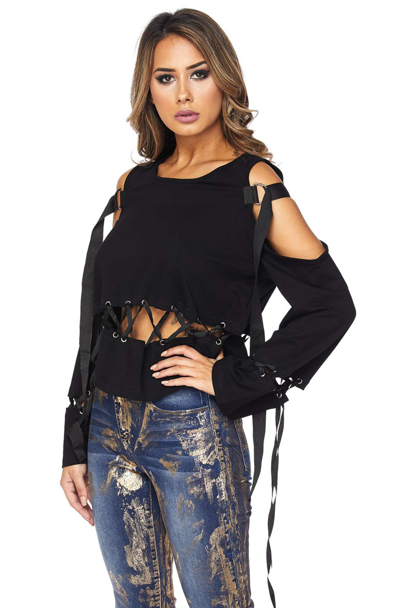 Black cut out lace top with strap