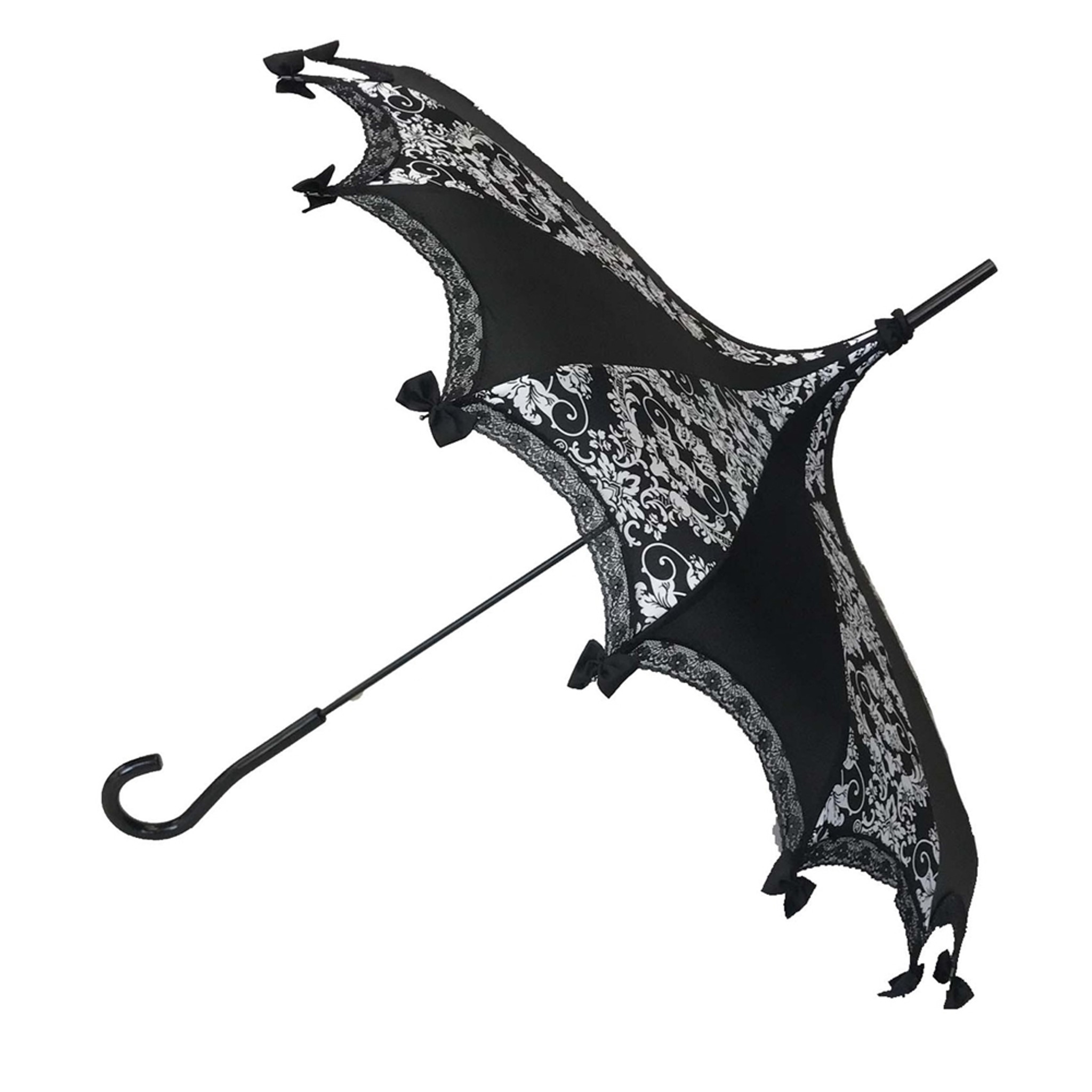 This beautiful Umbrella features a beautiful black and white bat damask pattern. It has lace and bow details with a hook-style handle. Whether it is Sunny or Wet, this is a must-have accessory for all your weather needs (yes, that's right- this is a real umbrella and can get wet. It's not just a fashion piece, it's functional)! This Umbrella will complement your outfit or costume.  Pagoda Style Umbrella Black and white damask pattern panels Hook-styled handle Lace ans small black bows detail Sturdy Construction Use as a parasol or rainy weather umbrella  http://petuniarocks.com