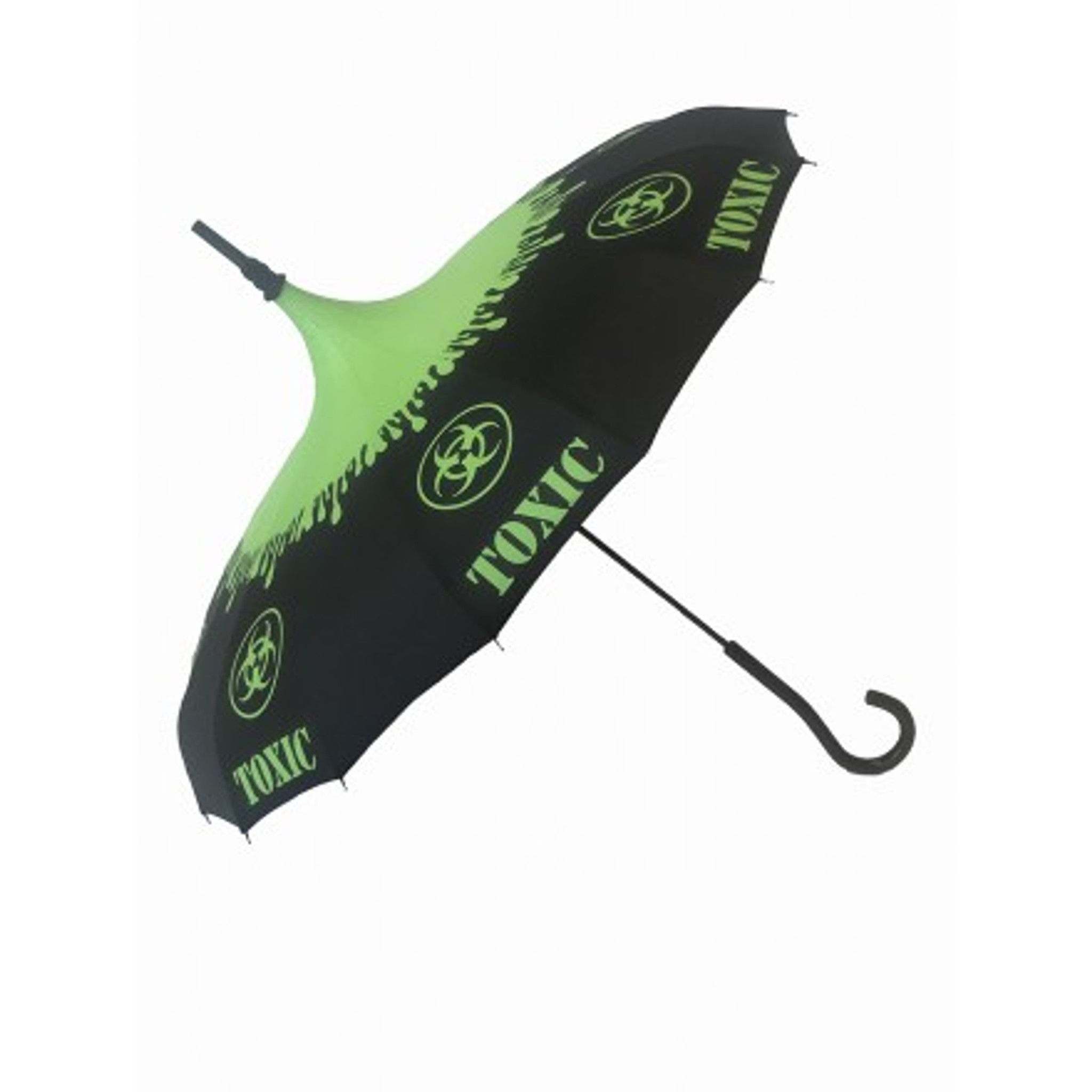 Check out this cool green and black pagoda umbrella with a toxic symbol dripping green graphic. It features also features a hook style handle. It is a Sunny or Wet must have accessory for all your weather needs (Yes that's right, this is a real umbrella and can get wet, not just a fashion piece) This Umbrella will compliment any good outfit or costume.  Pagoda Style Umbrella Black and green toxic pattern panels Hook-styled handle Sturdy Construction Use as a parasol or rainy weather umbrella  http://petuniarocks.com