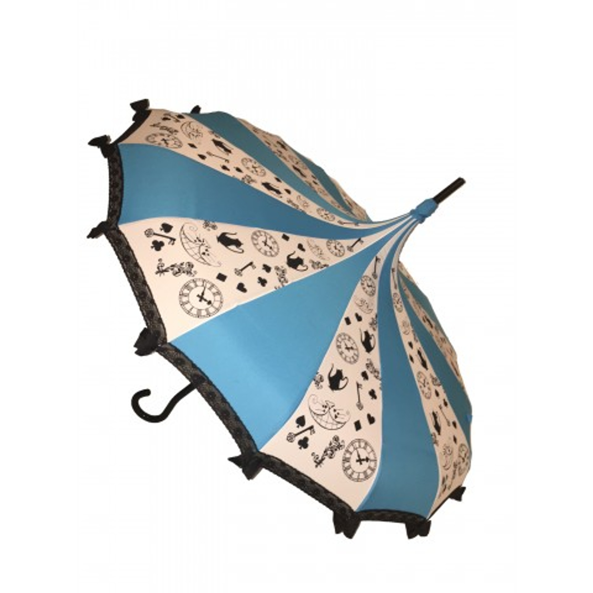 Curious Girl Umbrella - Blue, white and black