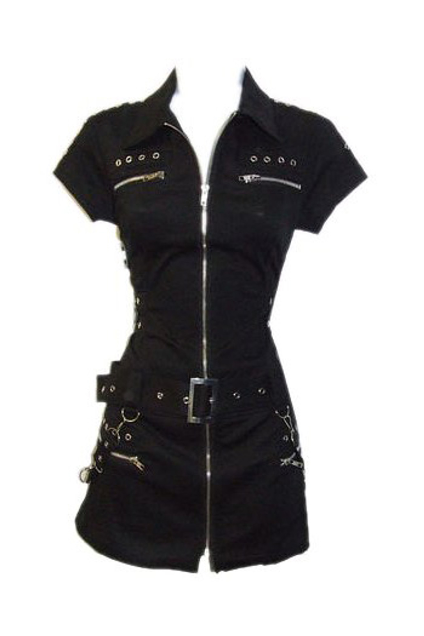 Goth - Punk Black dress with zippers and grommets