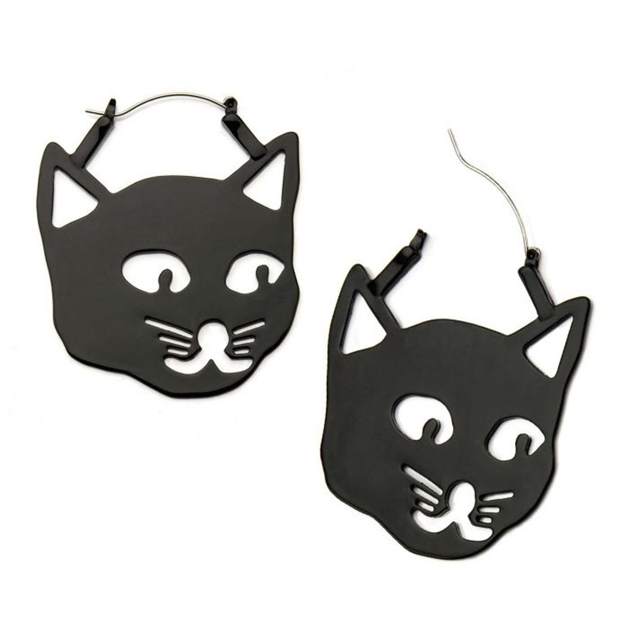 Black cat earrings - plug hoop