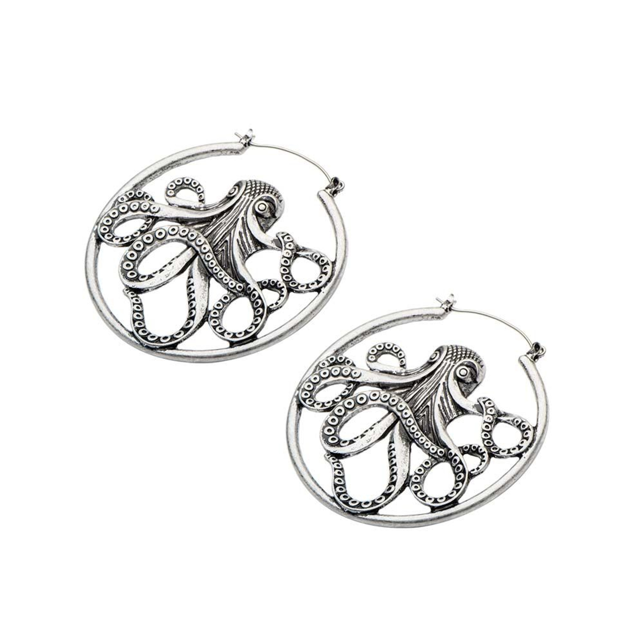 Octopus earrings - plug hoops