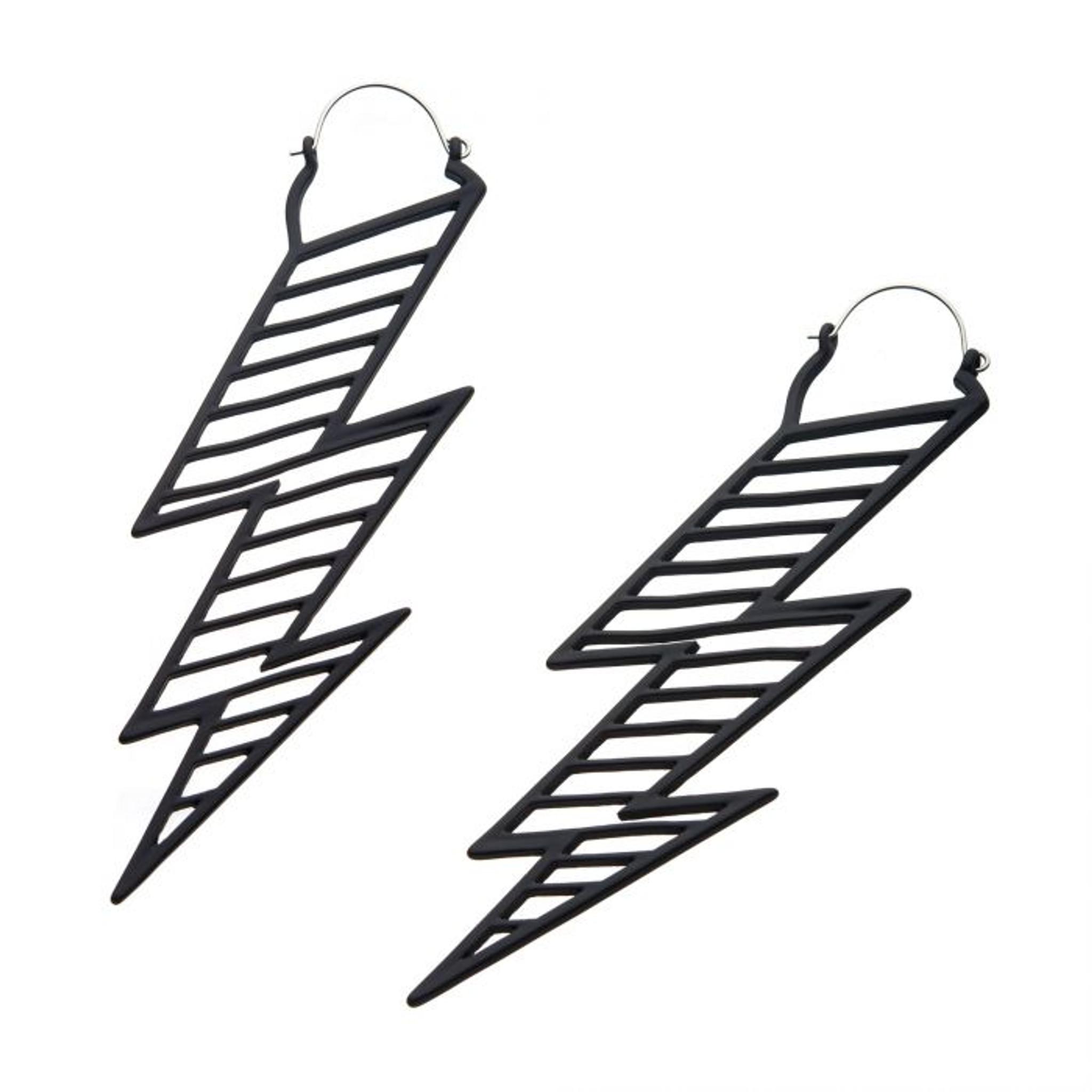 Black Lightening Bolt Earrings