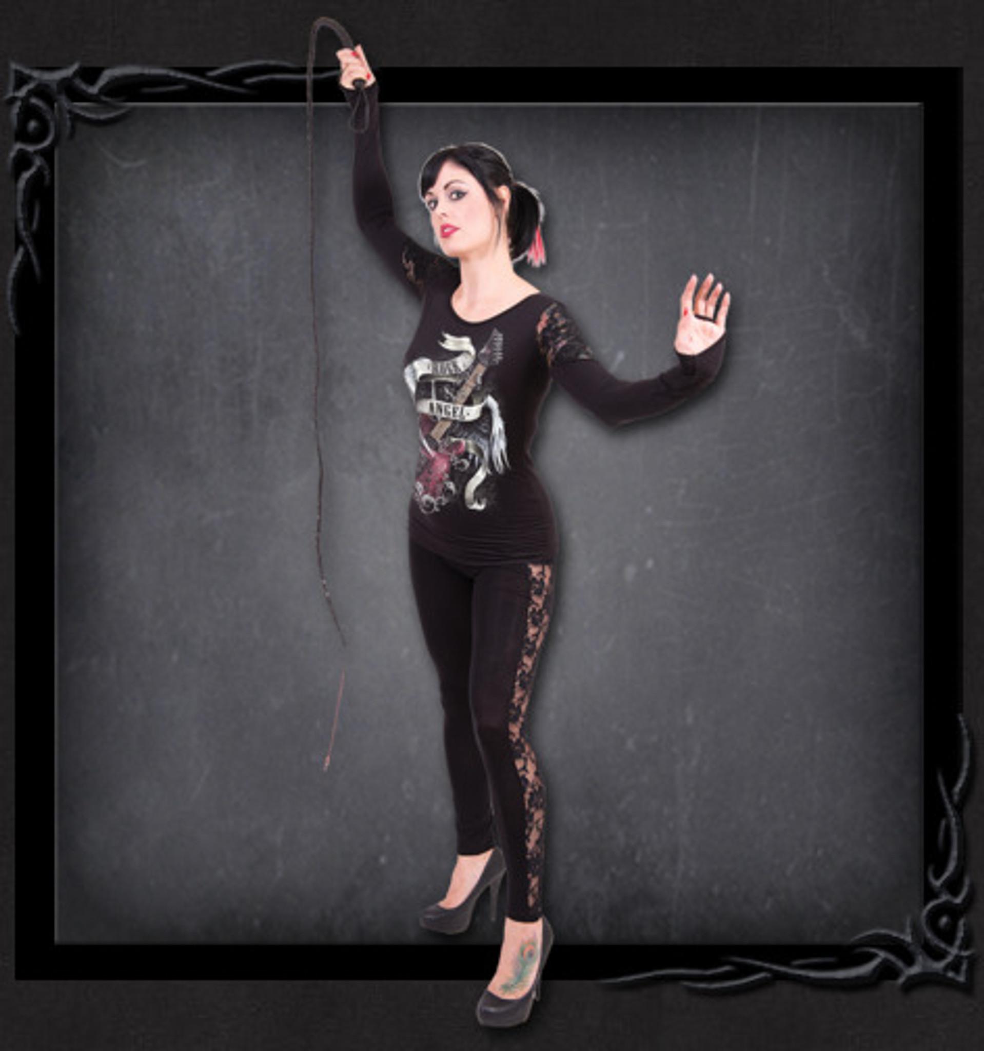 Rock Angel - Shoulder Lace Top Black