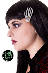 Glow-in-the-dark skeleton hand hair clip