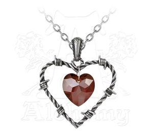 Alchemy of England Love Imprisoned Necklace - A cruel bouquet of barbed wire ensnaring the anguished crystal heart and tormenting the forlorn lover.