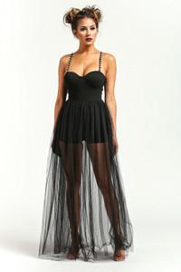 Black toule maxi dress
