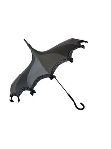 This beautiful Steampunk Umbrella is done in Silver-Pewter Satin.  It has lace and bow details with a hook-style handle. Whether it is Sunny or Wet, this is a must-have accessory for all your weather needs (yes, that's right- this is a real umbrella and can get wet. It's not just a fashion piece, it's functional)! This Umbrella will complement your outfit or costume.  Pagoda Style Umbrella Silver-pewter Satin panels Hook-styled handle Small black bows and lace Sturdy Construction Use as a parasol or rainy weather umbrella  http://petuniarocks.com