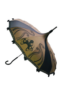 This beautiful Brown Steampunk umbrella has a Black Octopus pattern  It has lace and bow details with a hook-style handle. Whether it is Sunny or Wet, this is a must-have accessory for all your weather needs (yes, that's right- this is a real umbrella and can get wet. It's not just a fashion piece, it's functional)! This Umbrella will complement your outfit or costume.   Pagoda Style Umbrella Brown Steampunk umbrella has a Black Octopus pattern Hook-styled handle Small black bows and lace Sturdy Construction Use as a parasol or rainy weather umbrella