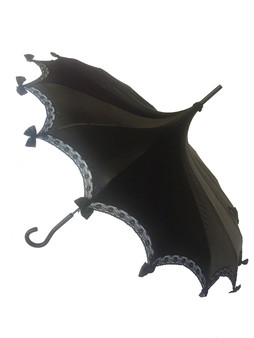 This beautiful Steampunk/Gothic Pagoda style Umbrella is done in our Midnight Black Satin. It has lace and bow details with a hook-style handle. Whether it is Sunny or Wet, this is a must-have accessory for all your weather needs (yes, that's right- this is a real umbrella and can get wet. It's not just a fashion piece, it's functional)! This Umbrella will complement your outfit or costume.  Pagoda Style Umbrella Midnight Black Satin panels Hook-styled handle Lace ans small black bows detail Sturdy Construction Use as a parasol or rainy weather umbrella   http://petuniarocks.com
