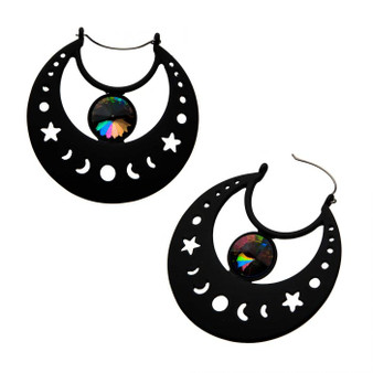 Moon Phase Earrings with Prism Gem