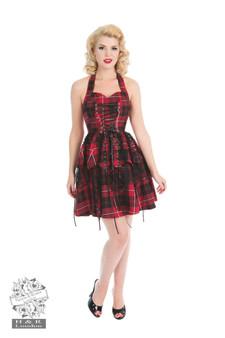 Red Tartan Punk Pirate mini dress