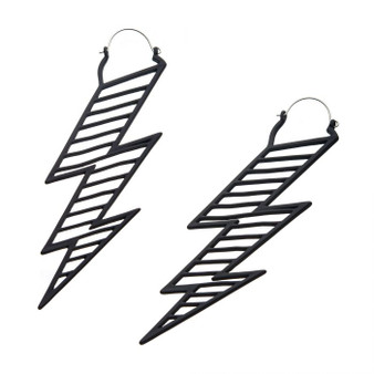 Black Lightening Bolt Earrings