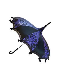 Pagoda Umbrella - Purple Bat Damask on Black