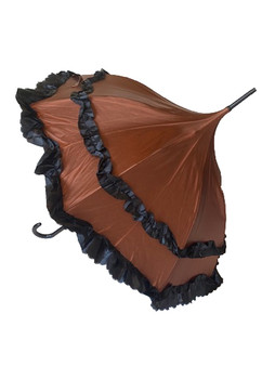 Umbrella Brown and Black Deluxe - automatic satin umbrella