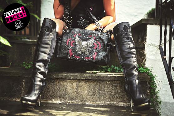Winged sugar skull and roses bag