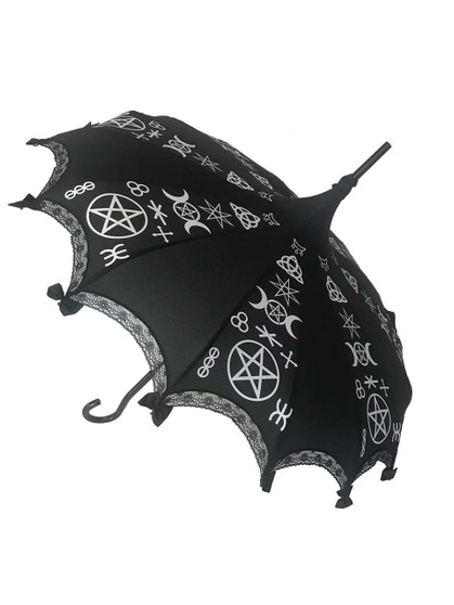 This beautiful Umbrella features real Pagan Symbols. It has lace and bow details with a hook-style handle. Whether it is Sunny or Wet, this is a must-have accessory for all your weather needs (yes, that's right- this is a real umbrella and can get wet. It's not just a fashion piece, it's functional)! This Umbrella will complement your outfit or costume.  Pagoda Style Umbrella Pagan Symbols printed panels Hook-styled handle Lace ans small black bows detail Sturdy Construction Use as a parasol or rainy weather umbrella  http://petuniarocks.com